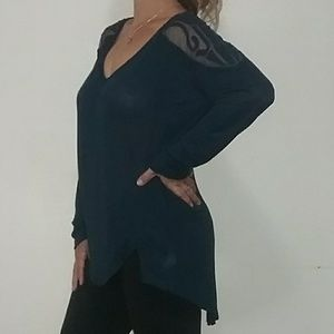 Free People Deep Dark Blue Blouse L
